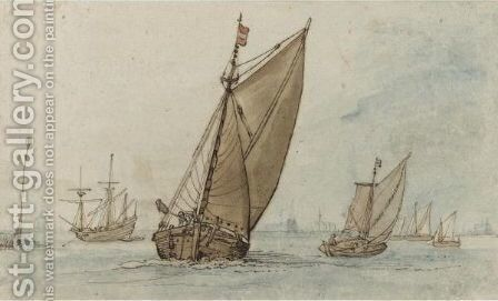 Small Vessels On A Calm Sea, With A Jetty To The Left And A Town On The Horizon by Hendrick Avercamp - Reproduction Oil Painting