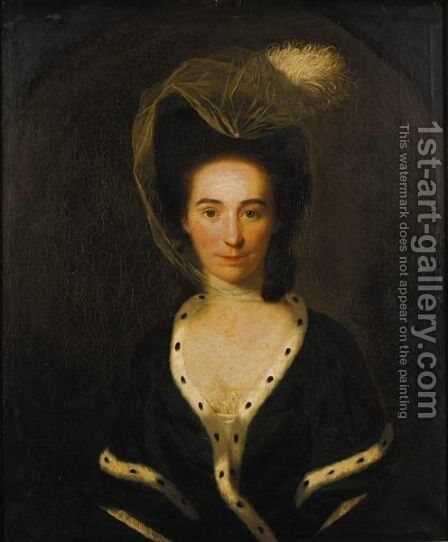 Portrait Of A Lady Wearing A Green Fur-Trimmed Shawl by (after) Nathaniel Hone - Reproduction Oil Painting