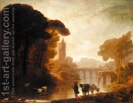 Italianate Landscape With Cattle by (after) Richard Wilson - Reproduction Oil Painting
