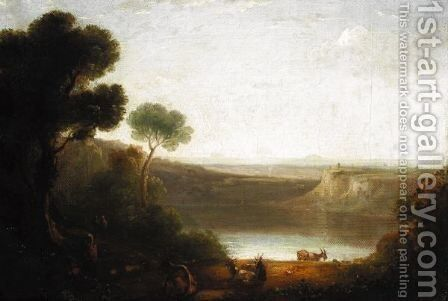 Classical Landscape With Cattle And Figures In The Foreground by (after) Richard Wilson - Reproduction Oil Painting