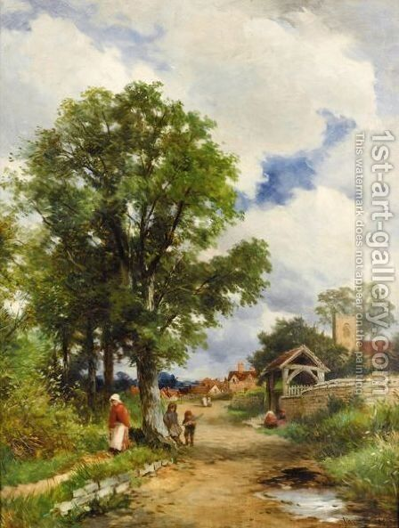 The Lynch-Gate, Valley Of The Avon, Warwick by David Bates - Reproduction Oil Painting
