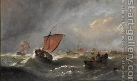 Fishing Boats In The Channel by (after) William Calcott Knell - Reproduction Oil Painting