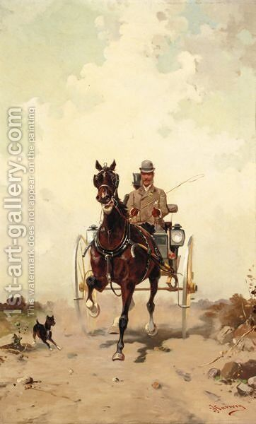 A Pair Of Coaching Scenes by J. Harwey - Reproduction Oil Painting