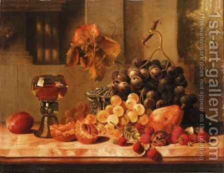 Still Life Of Grapes And Raspberry'S by (after) Edward Ladell - Reproduction Oil Painting