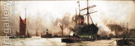 Off Wapping by Charles Edward Dixon - Reproduction Oil Painting