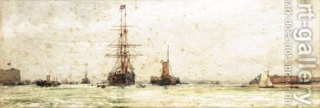 Entering Portsmouth by Charles Edward Dixon - Reproduction Oil Painting