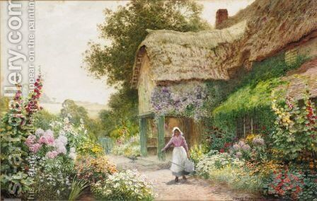 Watering The Flowers At Manor Cottage, Midhurst by Arthur Claude Strachan - Reproduction Oil Painting