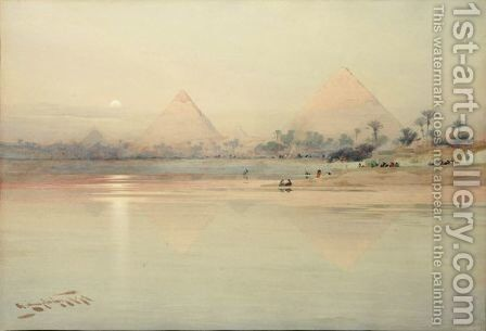 A View Of The Pyramids At Sunset by Augustus Osborne Lamplough - Reproduction Oil Painting