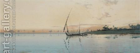 Nile Sunset by Augustus Osborne Lamplough - Reproduction Oil Painting
