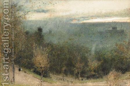 Winchester From St Giles' Hill by Albert Goodwin - Reproduction Oil Painting