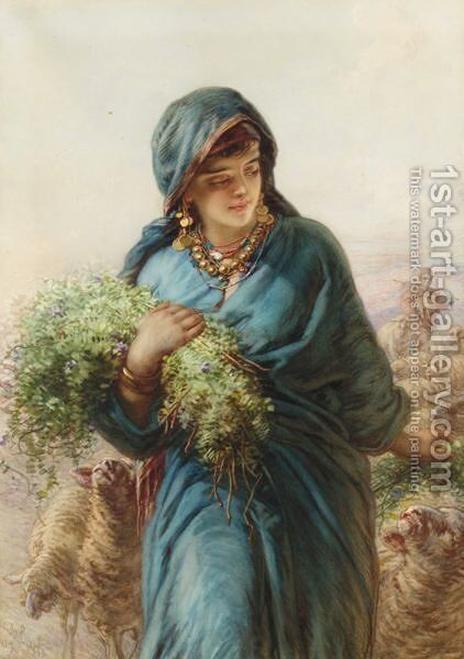 The Shepherdess by Guido Bach - Reproduction Oil Painting