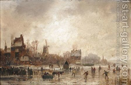 Winter Skating by Adolf Stademann - Reproduction Oil Painting