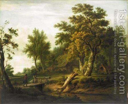 Figure In A Woodland by Dutch School - Reproduction Oil Painting
