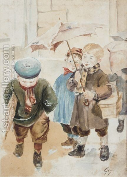 A Rainy Day by Henri-Jules-Jean Geoffroy (Geo) - Reproduction Oil Painting