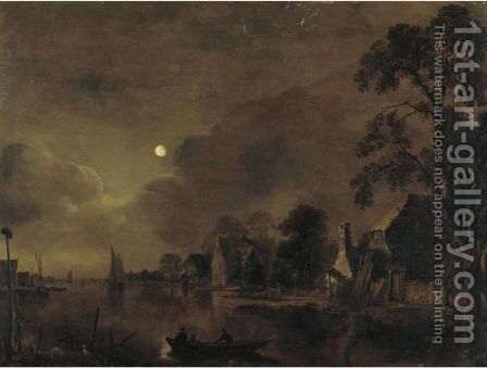A Moonlit Landscape With Two Men On A Raft In The Foreground by Aert van der Neer - Reproduction Oil Painting