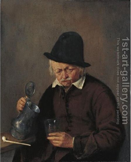 A Man Holding A Tankard And A Glass by Adriaen Jansz. Van Ostade - Reproduction Oil Painting