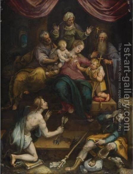 The Holy Family With The Infant Saint John The Baptist And Saint Anne, Together With Saints Anthony Abbot, Sebastian And Roch by Denys Calvaert - Reproduction Oil Painting