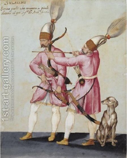 Two Solak Archers With A Dog by Jacopo Ligozzi - Reproduction Oil Painting
