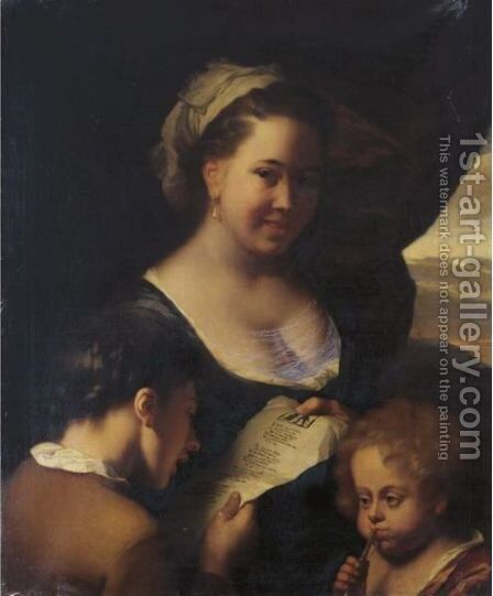 The Music Lesson by Godfried Schalcken - Reproduction Oil Painting