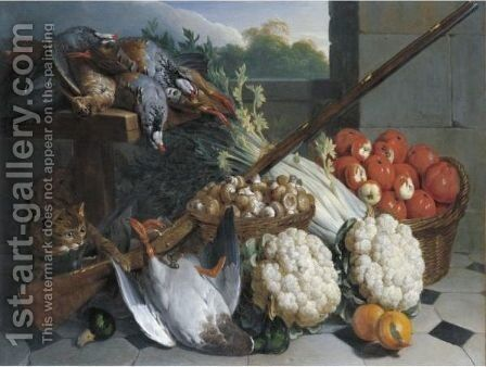 A Still Life Of Game With A Musket, Baskets Of Apples And Mushrooms, A Bunch Of Celery, Two Cauliflowers And A Cat by Alexandre-Francois Desportes - Reproduction Oil Painting