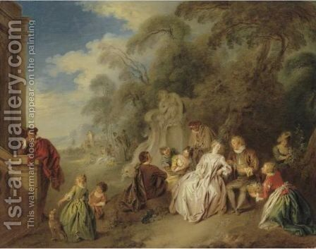 Fete Galante With Figures In A Park Amour Et Badinage by Jean-Baptiste Joseph Pater - Reproduction Oil Painting