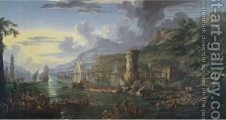 A Mediterranean Port At Sunset With Moored Battleships, Figures Unloading Their Wares From Various Boats And Bathers On A Bank by (after) Luca Carlevarijs - Reproduction Oil Painting