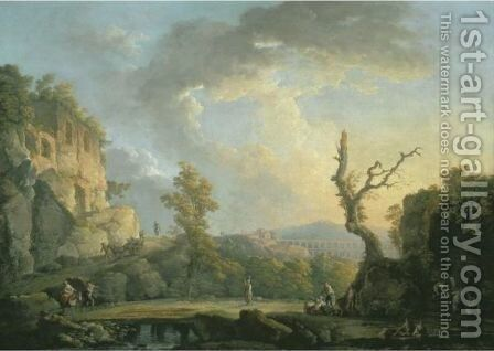 An Italian River Landscape With Ruins, Travellers And A Roman Aqueduct, Possibly The Ponte De Maddaloni, Naples by Carlo Bonavia - Reproduction Oil Painting