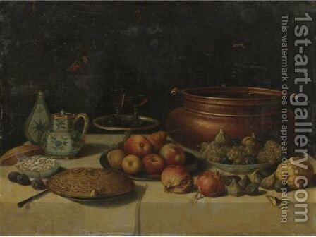 Still Life Of Fruit, A Pie, A Large Copper Pot, A Blue And White Porcelain Pitcher And Vase And Other Objects, All On A Table by Jan van Kessel - Reproduction Oil Painting