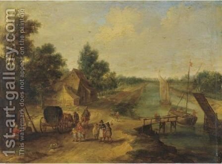 A River Landscape by Jan van Kessel - Reproduction Oil Painting