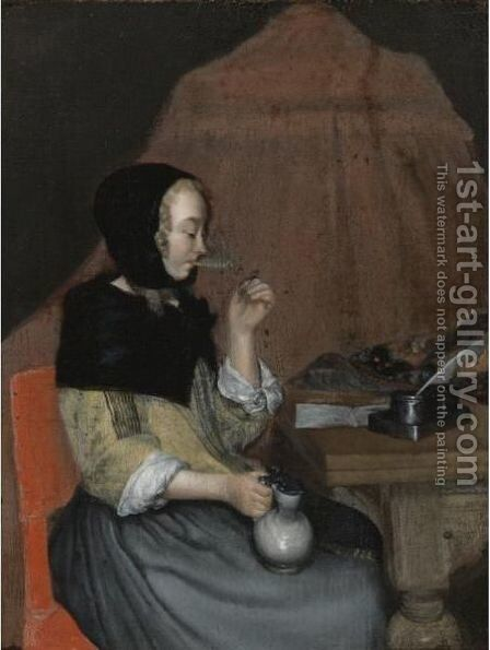 A Young Woman Drinking by (after) Gerard Ter Borch - Reproduction Oil Painting