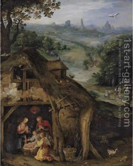Nativity by (after) Lazarus Van Der Borcht - Reproduction Oil Painting