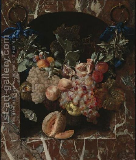 A Festoon Of Fruits, Including Peaches, Grapes, Plums And Hazelnuts, Suspended By Blue Ribbons Before A Marble Niche by Carstian Luyckx - Reproduction Oil Painting