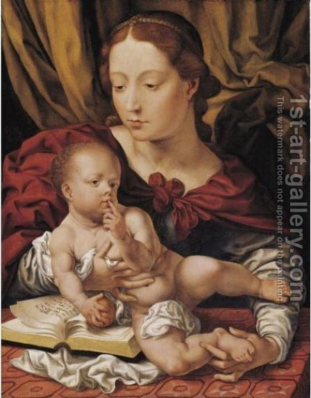 Virgin And Child With An Open Book by (after) Jan (Mabuse) Gossaert - Reproduction Oil Painting