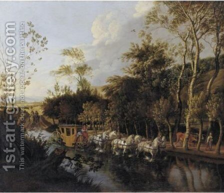A Coach Pulled By Six Horses Crossing A Flooded Road by Jan Siberechts - Reproduction Oil Painting