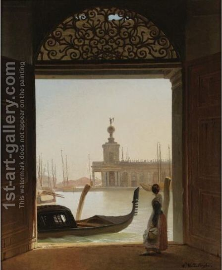 Venice, A View Of The Dogana Seen Through A Large Doorway by Charles Auguste van den Berghe - Reproduction Oil Painting