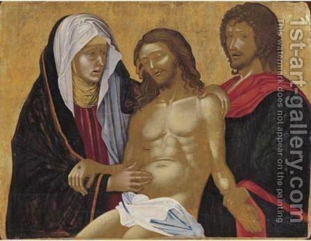 The Dead Christ Supported By The Virgin And Saint John The Evangelist by (after) Nikolaos Zafuris - Reproduction Oil Painting