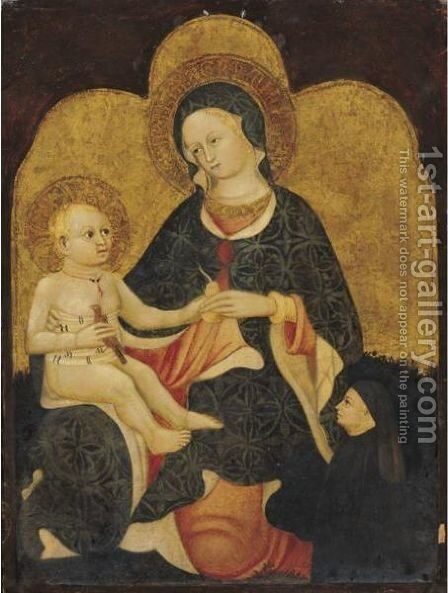 Madonna And Child With A Donor Figure by Emilian School - Reproduction Oil Painting