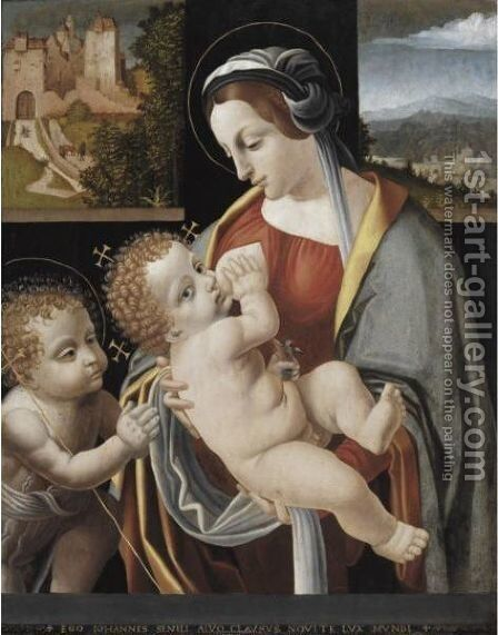 Madonna And Child With The Infant St. John by Bernardino de' Conti - Reproduction Oil Painting