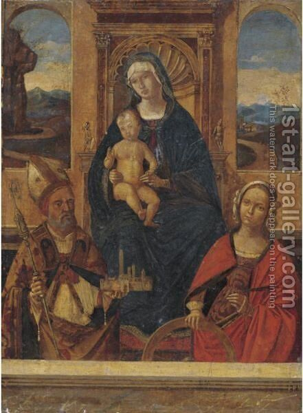 Madonna And Child Enthroned With Saints Petronius() And Catherine Of Alexandria by Bernardino di Bosio (see ZAGANELLI) - Reproduction Oil Painting