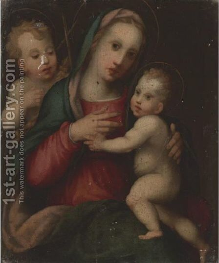 Madonna And Child With The Infant St. John The Baptist by Domenico Puligo - Reproduction Oil Painting