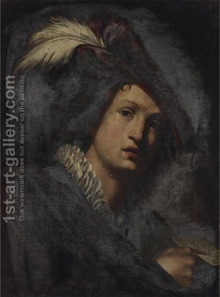 A Young Man Wearing A Feathered Hat, Holding A Sheet Of Music by Niccolo Renieri  (see Regnier, Nicolas) - Reproduction Oil Painting