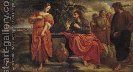 Christ And The Samaritan Woman At The Well by Jacob van, the Younger Oost - Reproduction Oil Painting