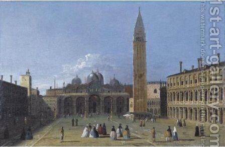 View Of The Piazza San Marco, Venice by Apollonio Domenichini - Reproduction Oil Painting