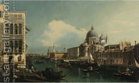 View Of The Grand Canal With Santa Maria Della Salute And The Dogana From The Campo Santa Maria Zobenigo, Venice by (after) (Giovanni Antonio Canal) Canaletto - Reproduction Oil Painting