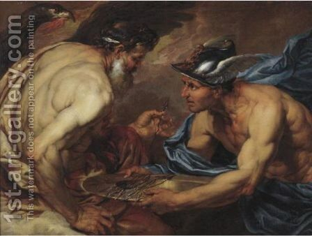 Mercury Presenting Thunderbolts To Jupiter by Giovanni Battista Langetti - Reproduction Oil Painting