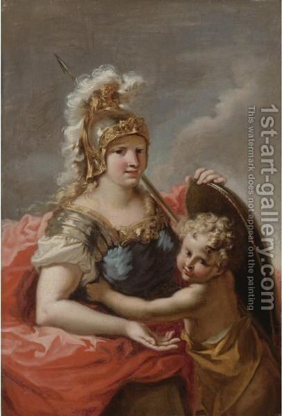 Minerva With A Putto by Giovanni Antonio Pellegrini - Reproduction Oil Painting