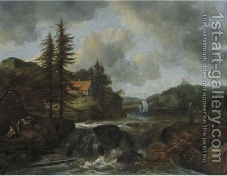 Waterfall In A Mountainous Landscape by Jacob Van Ruisdael - Reproduction Oil Painting