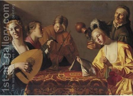 A Musical Party by (after) Honthorst, Gerrit van - Reproduction Oil Painting