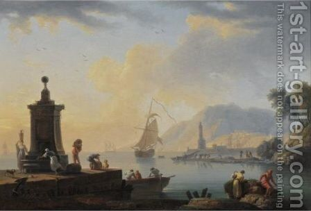 Mediterranean Port Scene by Claude-joseph Vernet - Reproduction Oil Painting