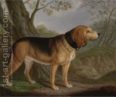 A Bloodhound In A Landscape by Christian Wilhelm Karl Kehrer - Reproduction Oil Painting